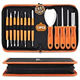 Pumpkin Carving Kit Tools Halloween, CHRYZTAL 13PCS Professional Heavy Duty Carving Set, Stainless Steel Double-side Sculpting Tool Carving Knife for Halloween Decoration Jack-O-Lanterns