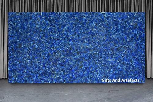 Gifts and Artefakte Rechteckiger Marmor-Tisch Pietra Dura Art mit Lapislazuli Edelsteinen bei zufälliger Arbeit, kann im Flurtisch zu Hause verwendet werden, 66 x 91 cm