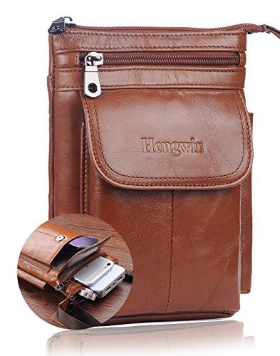 Hwin Small Crossbody Phone Purse, Leather Men Bag Compatible iPhone 8 7 Plus Holster Case Double Belt Loops Belt Pouch Waist Bag Mini Travel Shoulder Bag Samsung Note 8 5 S7 Edge Plus+Keyring Brown