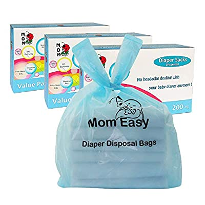 MOM EASY Baby Disposable Diaper Sacks Waste Bags with Handles, 600 Counts, Unscented