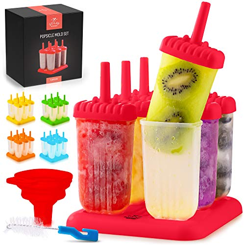 Zulay Kitchen Popsicle Molds with Sticks - 6-Piece BPA Free Reusable Popsicle and Ice Pop Molds with Drip Guard - Easy Release Ice Popsicle Maker Mold Set with Tray, Funnel & Brush (Red)