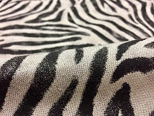 Tela de lino con diseño de rayas negras de cebra con aspecto de rayas – Cortina de muebles, tapicería y confección de tela de algodón textil – 140 cm de ancho (2 metros)