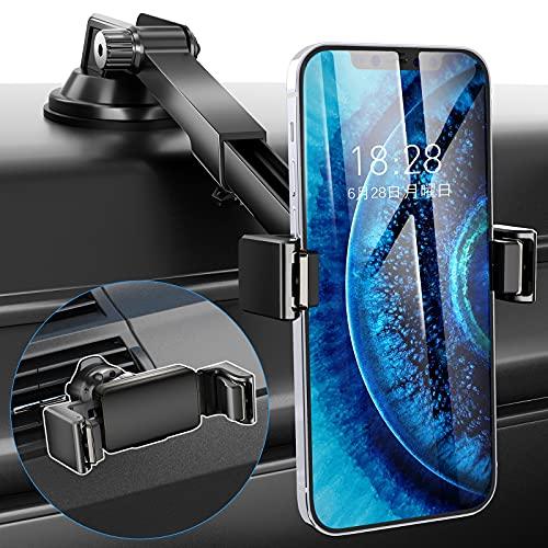 【2021年版 2種類取付可能 】TRYONE 車載ホルダー 2in1 片手操作 スマホ ホルダー 粘着ゲル吸盤&エアコン吹き出し口式兼用 ダッシュボード用 ホルダー 伸縮アームスタンド 携帯ホルダー 99%のスマホ&手帳型ケースにも対応可能 360度回転 自由調節iPhone/Samsung/Sony/LG/Huawei 等多機種対応