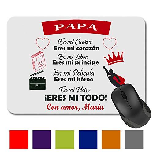 Kembilove Alfombrilla de Ratón Personalizada para Padre - Regalo Original Alfombrilla de Ratón Cuadrada Personalizada con nombre Papá Eres mi Todo en diferentes colores - Regalo para el día del Padre