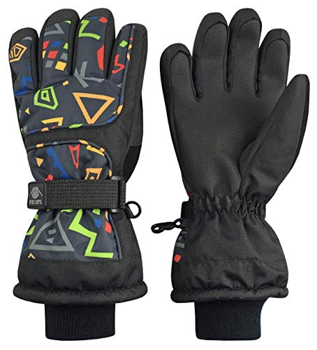 N'Ice Caps Kids Scroll Print Waterproof Thinsulate Insulated Winter Snow Gloves (Black/Charcoal - Color Changes in Sunlight to Black/Charcoal/Blue, 3-4 Years)