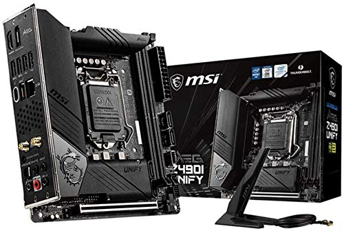 MSI MEG Z490I UNIFY Mini-ITX-Gaming-Mainboard (10. Generation Intel Core, LGA 1200-Sockel, zwei M.2-Steckplätze, Thunderbolt 3 Typ-C, Wi-Fi 6)