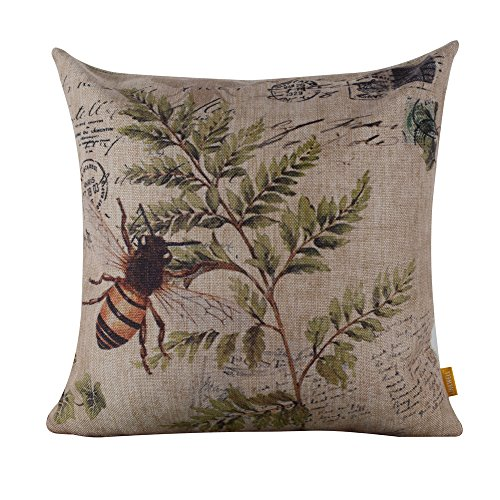 LINKWELL 4545cm Retro Vintage Brown Paris Country Bee Leaf Linen Cushion Cover Postmark CC195