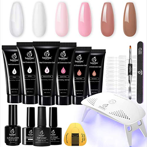 Beetles Poly Extension Gel Nail Kit, Nail Builder Gel Nail Enhancement Trial Kit Professional Nail Technician All-in-One French Kit with Mini Nail Lamp Base Matte Top Coat SlipSolutiont Starter Kit