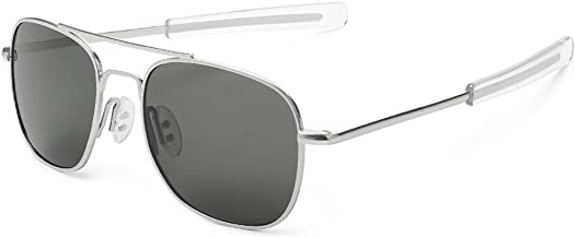 WELUK Men's Pilot Sunglasses Polarized 55mm Military Style with Bayonet Temples
