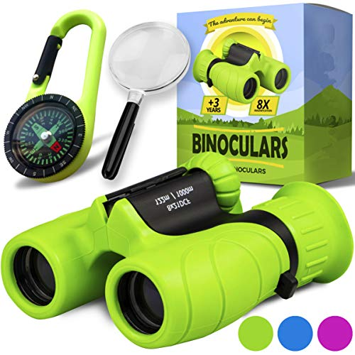 Promora Binoculars for Kids - Powerful Magnification of 8 X 21 - The Perfect Toy for Little Adventurers - Extensive Set Including Magnifying Glass & Compass