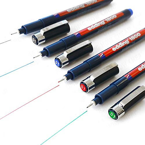 Edding 1800 Profipen Delineador con Pigmento Rotulador de Dibujo - 0.1mm - [ Juego de 4 - Negro, Azul, Rojo, y Verde]