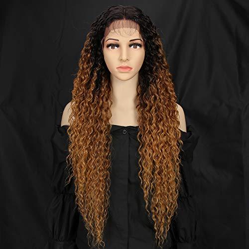 Style Icon Lace Front Perücken Wigs 71cm Curly Wellige Synthetische Perücken Für Frauen Tief mittel Teil Baby Haar Hitzebeständige Fasern Spitze Front
