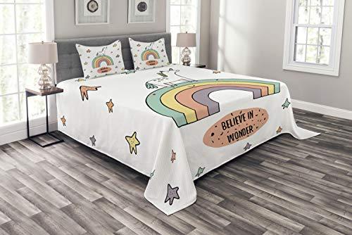 ABAKUHAUS Einhorn Tagesdecke Set, Regenbogen Bunte Sterne, Set mit Kissenbezügen Sommerdecke, für Doppelbetten 220 x 220 cm, Mehrfarbig