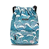 Waterproof Drawstring Bag, Gym Bag Sackpack Sports Backpack for Men Women Girls (50-wave)
