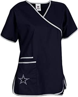 ae78824ad42 NFL Dallas Cowboys Women's Mock Wrap Scrub Top, X-Small, ...