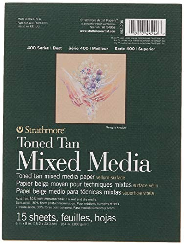 Strathmore 462-206 400 Series Toned Tan Mixed Media Pad, 15,2 x 20,3 cm, geklebt, 15 Blatt pro Block