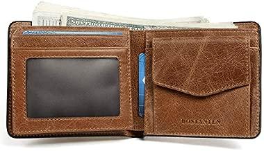 BOSTANTEN Genuine Leather Wallets for Men Bifold RFID Blocking Wallet with 2 ID Window Brown