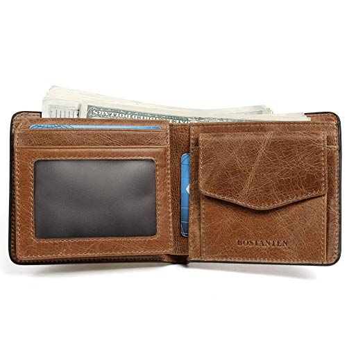 BOSTANTEN Genuine Leather Wallets for Men Bifold RFID Blocking Wallet with 2 ID Window Brown