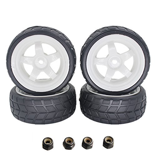 26mm RC On Road Vehicle Tires Soft Rubber & White Plastic Wheel Rims Sets 12mm Hex Hub For 1/10 Scale Tyre (Pack of 4)