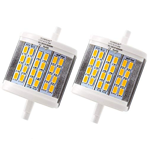 rowrun R7S 78 mm 8 W Foco LED Night Lights Recambio para halógeno, 24 pcs 5630SMD 6000 K Blanco frío (2 unidades), Moderno, Blanco Warm