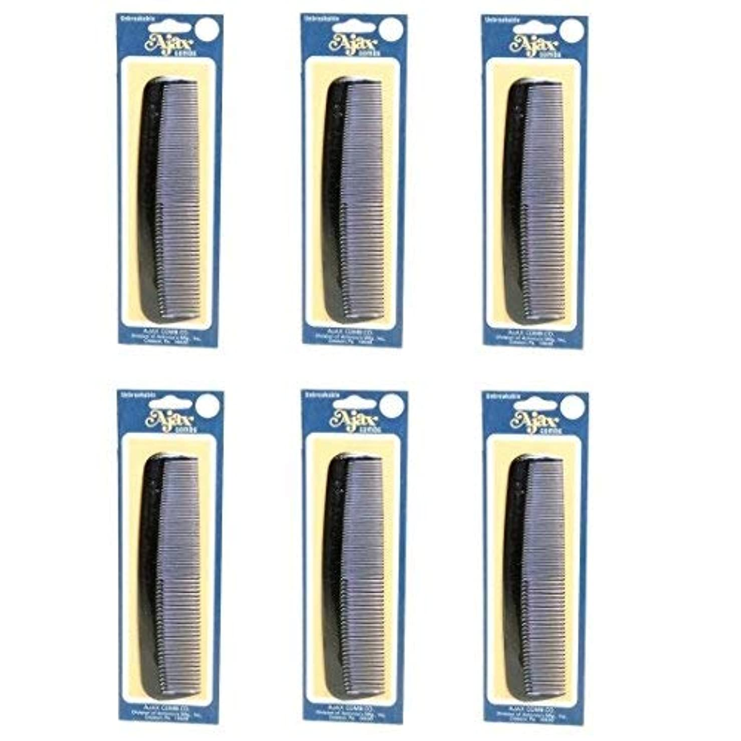 Ajax Unbreakable Hair Combs Super Flexible Pocket Sized Lifetime Guarantee - Proudly Made in the USA (Pack of 6) [並行輸入品]