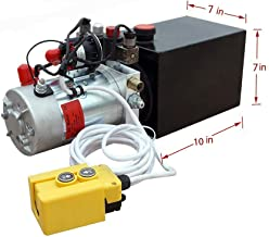 8 Quart DC 12V Hydraulic Pump Power Supply Unit Pack Double Acting Dump Trailer Fit for Lift Unloading
