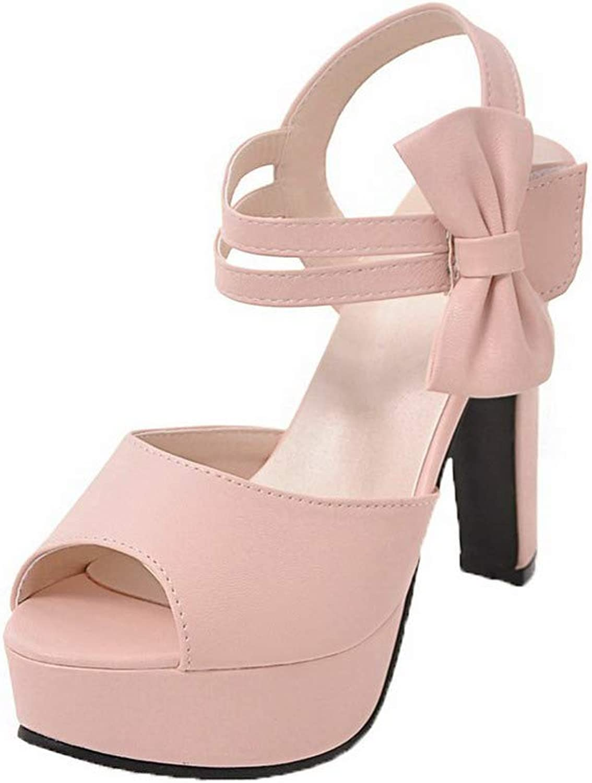 AmoonyFashion Women's Pu Open-Toe High-Heels Hook-and-Loop Solid Sandals, BUTLT007599