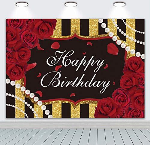 DANIU Czerwone róże kwiat tło urodzinowe, czarny i złoty pasek kwiatowy perła w paski przyjęcie urodzinowe fotografia tło dla kobiety przyjęcie budka selfie dekoracje baner
