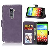 Case for LG G2 D800 D801 D802 LS980,Matting PU Leather Protection 3 Card Slots Wallet Flip Case Cover(Purple)