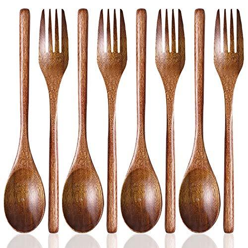 Juego de 8 cucharas y tenedores para sopa de madera, cuchara y tenedor de madera SourceTon para fiestas, banquetes, buffet, catering, vida cotidiana - 9 pulgadas