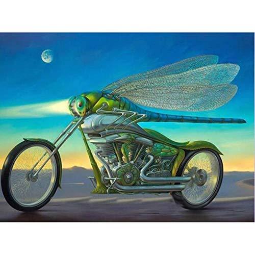 Msszsh 5D Diamant Schilderij Kunst Kits Fantasie Motorfiets en Dragonfly Volledige Dille Strass Borduurwerk Kristal Mozaïek Home Decor Gift 40X50Cm(15.5X19.5In)