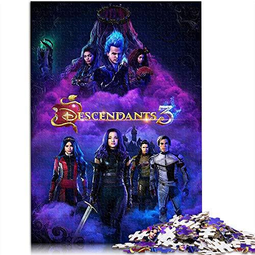 500 piezas rompecabezas para adultos, juegos de rompecabezas descendientes 3 póster de película, rompecabezas clásico desafiante, gran opción de regalo 52 x 38 cm