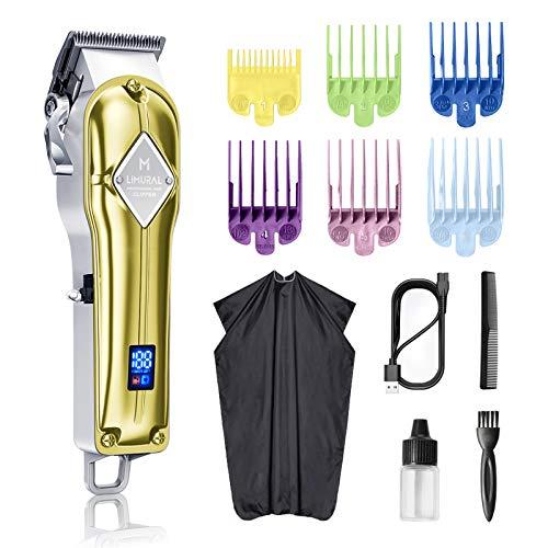 Limural Haarschneider für Herren Schnurlose Profi Haarschneidemaschine Bartschneider Friseure Pflegeset Wiederaufladbar, LED-Anzeige, Gold