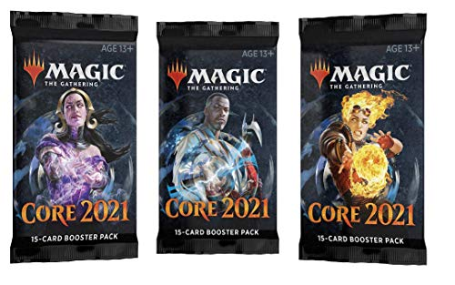 3 (Three) Booster Packs of Magic: The Gathering: Core Set 2021 M21 - 3 Booster Packs (MTG Booster Pack Draft Lot Bundle)
