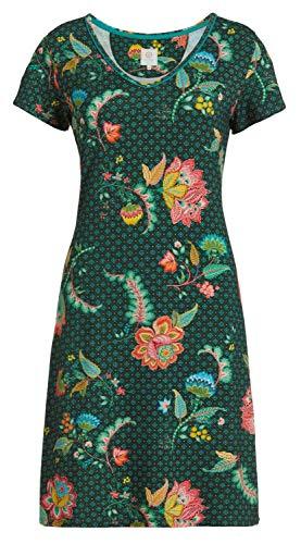 PiP Studio Damen Djoy Nachthemd Nachtkleid Nightdress Kurzarm floraler Druck grün modisch, Farbe:grün, Grösse:XS - 34