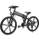 SAMEBIKE LO26-II Ebike Bicicleta de Montaña de 26 Pulgadas, Bicicleta Eléctrica Plegable para Adultos 500W 48V 10AH, Shimano de 7 Velocidades, con Medidor LCD TFT a Color (Negro)