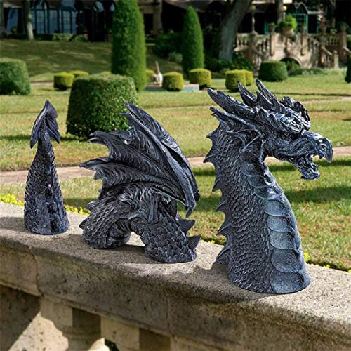 Large Dragon Gothic Garden Decor Statue - The Dragon of Falkenberg Castle Moat Lawn Statue, Garden Sculptures & Statues, Funny Outdoor Figurine, Yard Art, Frost and Winter-Resistant Statue for Garden