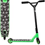 Land-Surfer Stunt Scooter Black with Green Trim and Small Skulls