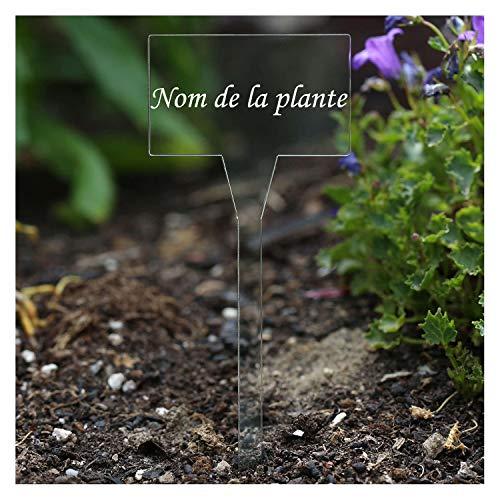 Acrylique iQue très élégant Enseignes d''herbes, transparent, clairement, incolore – Acrylique résistant aux intempéries et solide, prises en courant de plantes – Nom de plante différent ou propre Textes Usine de salade