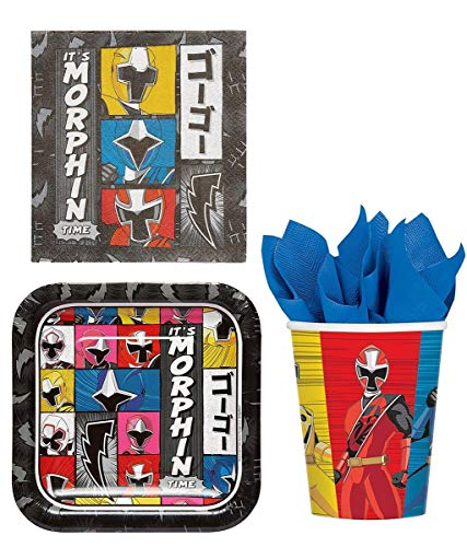 Power Rangers Party Bundle: 8x Plates, 16x Lunch Napkins, 8x Cups