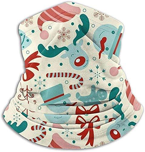 Calentador de cuello de microfibra Retro Christmas Moose Deer Neck Gaiter Tube Ear Warmer Headband Bufanda Mascarilla Pasamontañas Negro