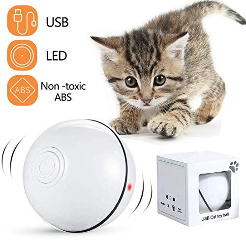 Bola de Gato, Juguetes para Gatos Pelotas, Carga USB Bola Giratoria Automática, Bola Eléctrica de 360 Grados Juguete Interactivo con luz LED para Ejercicio Animal Doméstico Gatos y Perros (Blanco)