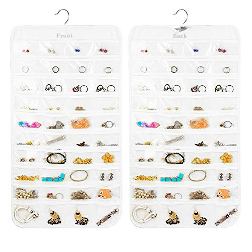 Earring Organizer, Dual-Sided 80-Pocket Hanging Jewelry Organizer Storage Display Necklace Earring Ring Pouch Pocket, Accessories Organizer Closet Wall Holder, Transparent, White, Hanger Included
