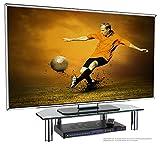 RICOO FS6026-B Soporte TV de Cristal Elevador televisión Pedestal para Mesa Base de pie Peana Universal Televisor LED/LCD/Curvo Color Negro