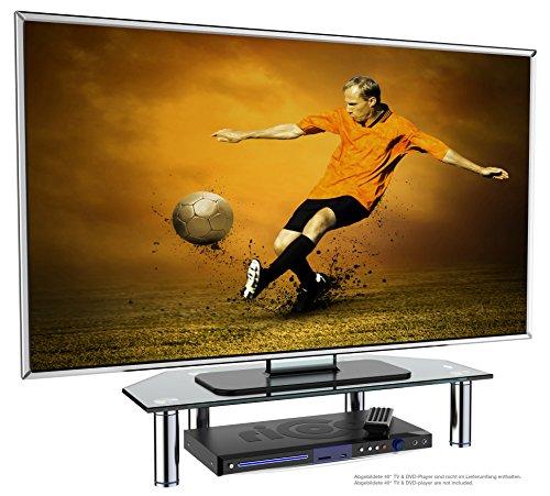 RICOO TV Board FS6026-B Glas Aufsatz Tisch Ständer für Lowboard, Sideboard & Kommode | Bildschirmständer Standfuss Bildschirmerhöhung Stand Rack Regal Lift Podest | Schwarz Silber Hochglanz