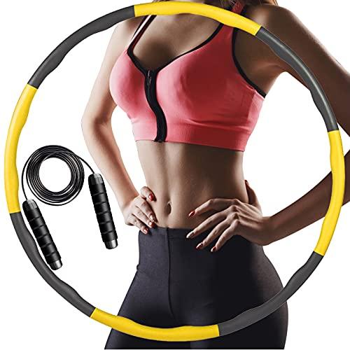 ACPURI Hula Hoop丨Hula Hoop Reifen Erwachsene und Kinder zur Gewichtsabnahme und Massage丨Hoola Hoop 6~8 Abnehmbare für Fitness/Sport/Zuhause/BüRo/Bauchformung mit Schwarzes Springseil (1 KG)