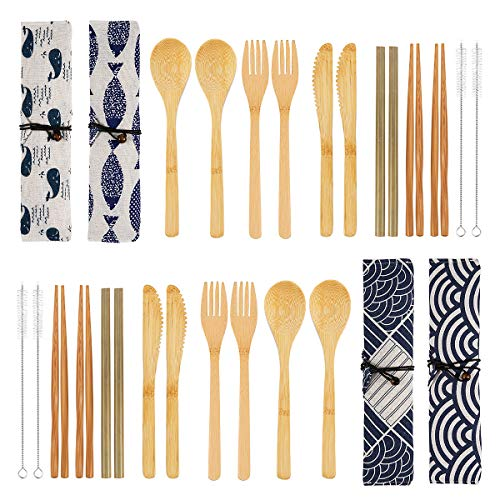 4 Pack Bamboo Cutlery Set | Flatware Set | Reusable Portable Utensils Travel Cutlery Set (Bags, Forks, Knives, Chopsticks, Spoons,Straws and Brushes) for Camping and BBQ (C)