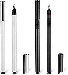 Gel Roller Pen, Fine Point Black Gel Ink Metal Nib, 4 Pack Metal Roller Ball Pens,Refillable