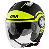 GIVI Casco Jet 11.1 Air Jet Round (S, negro y amarillo)