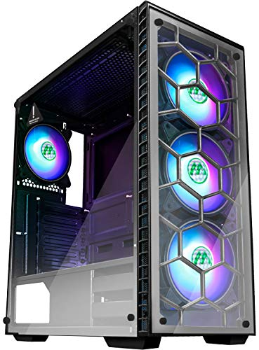 MUSETEX ATX Mid Tower Gaming Computer Case 4 RGB LED FansUp to 6 Fans, 2 Translucent Tempered Glass Panels USB 3.0 Port,Cable Management/Airflow, Gaming Style Window Case (903N4)